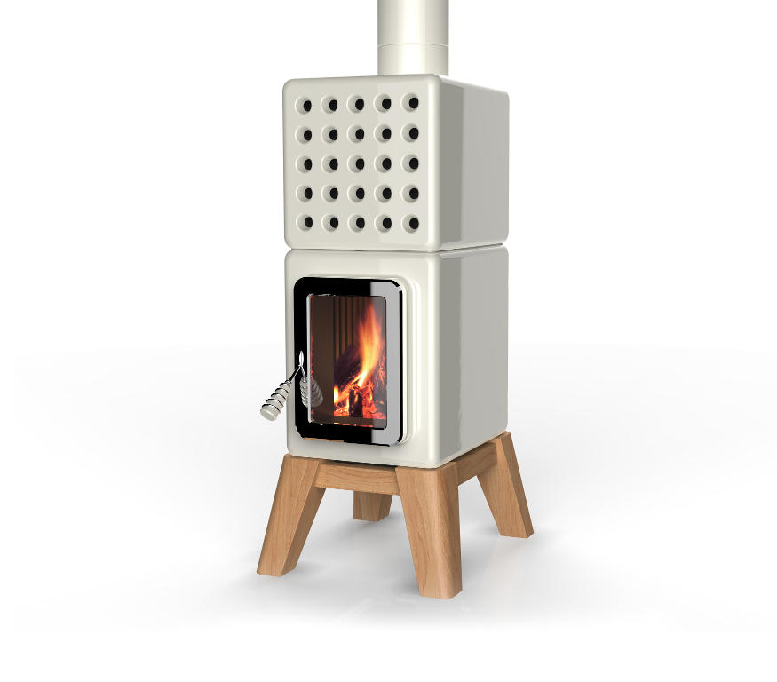 Cubistack Stove with Wooden Base