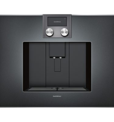 Gaggenau CM450100 Glass front Coffee machine in Anthracite finish.