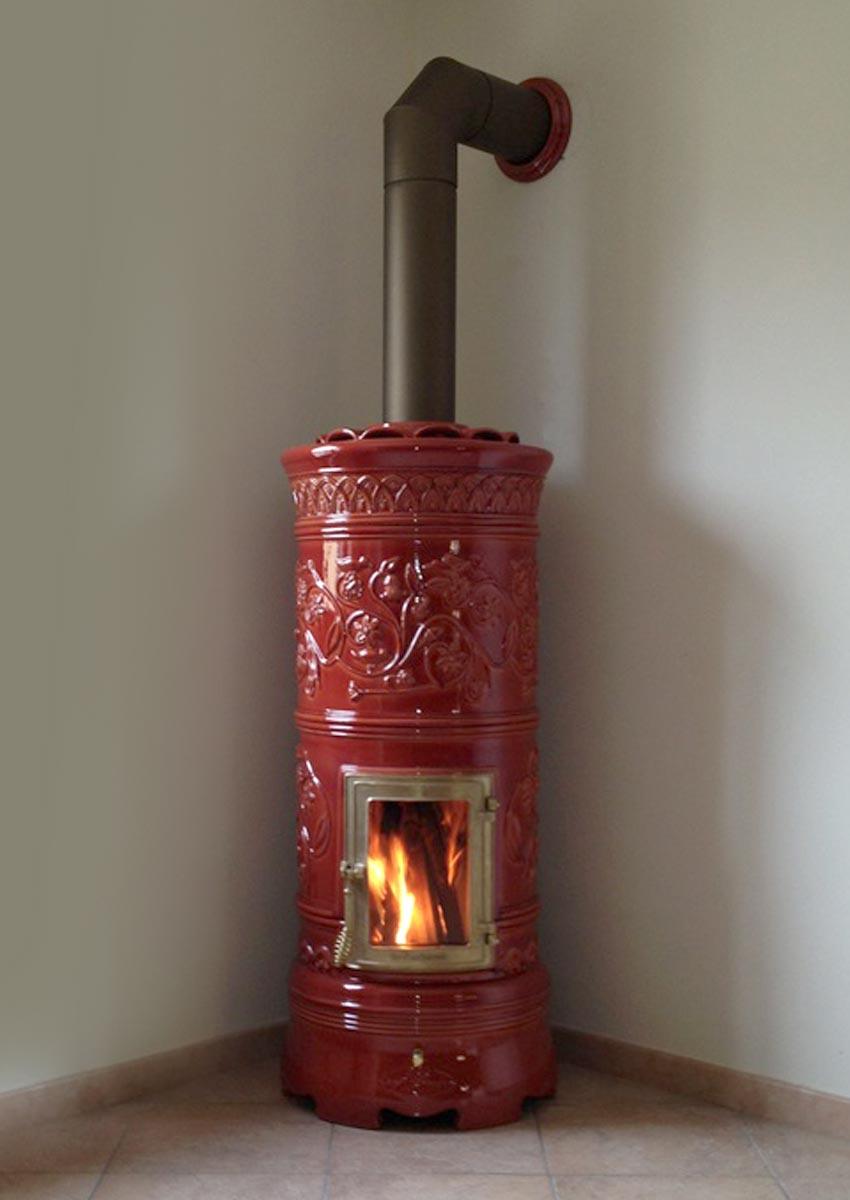 Rond 242 La Castellamonte Ceramic Wood Burning Stove Cooks