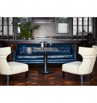Libra Halcyon Blue Leather 3 Seater Sofa - Ex-Display Clearance