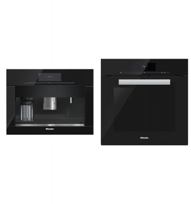 Miele H6860BP + CVA6805 OBBL Obsidian Black Oven + Coffee Machine Pair