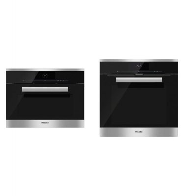 Miele H 6860 BP CLST Clean Steel Built-In Oven + DGC 6800 CLST Clean Steel Oven Steam Combination Oven - Ex-Display Clearance