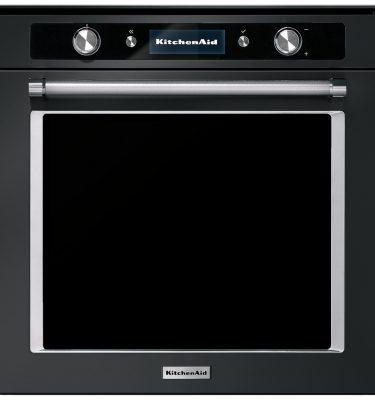 KitchenAid KOASPB 60600 60cm Twelix Artisan Multifunction Pyrolytic Built-In Single Oven with Steam Function - Black Steel